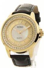 XOXO XO3305 Women's Rhinestone Accent Gold-Tone Leather Look Watch