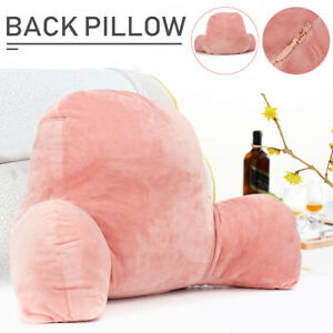 Soft Reading Pillow Back Rest Lumbar Support Arm Seat Cushion Lounger Relax Pink