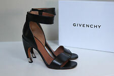 80f05b5a4c8 New sz 9   39 Givenchy Black Leather Curve Heel Ankle Sandal Shoes
