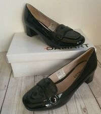 DAMART Wide Black Patent Slip-on Court Shoes Size 5 Width E - Leather Lined