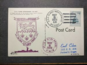USS ELMER MONTGOMERY FF-1082 Naval Cover 1978 Cachet Postcard