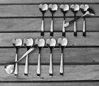 """LOT OF 12 HEART-SHAPED COFFEE TEA DESSERT 5"""" SMALL SPOONS ALESSI DELTA AIRLINES"""