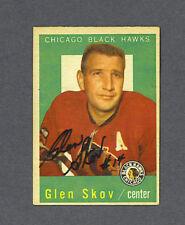 Glen Skov signed Blackhawks 1959-60 Topps hockey card