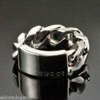 d8f992647945b5 GUCCI Sterling Silver Trademark Logo Butterfly Ring Size 6 Italy NEW ...
