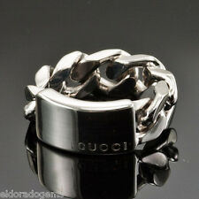 GUCCI LOGO STERLING SILVER FLEXIBLE CHAIN LINK RING SIZE US4.5