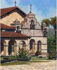 COLOR PRINT OF OIL PAINTING, CALIFORNIA MISSION #4