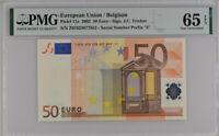 Euro 50 Euro Belgium 2002 P 11 z GEM UNC PMG 65 EPQ