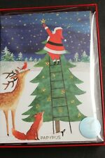 14 Cards Boxed Papyrus CHRISTMAS greeting HAPPY HOLIDAYS IN GOLD quality DESIGNS