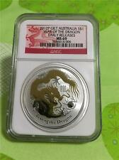 2012 P GILT GOLD AUSTRALIA  $1 YEAR OF THE DRAGON 1 OZ. .999 SILVER  NGC MS-69