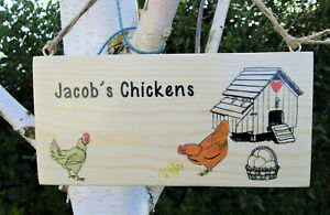 Handmade Personalised Chicken Sign.Hen house, Chicken Coop.Any Names or Text