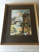 "Original Watercolor Landscape, Signed by Arthur E Archer, Framed, 8"" x 11"" Image"