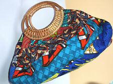 Tasche mit Korbgriff & Geldbörse Patchwork Baumwolle bunt - aus Ghana Afrika NEU