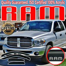 03-09 Ram Quad Cab 2500 3500 Side Door Window Deflector Vent Shade Visors + Logo