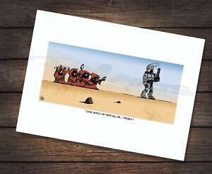 Star Wars RoboCop vs Jawa Cartoon Caricature A4 Art Print SIGNED BY COMIC ARTIST