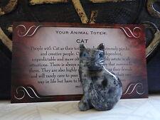 *CAT* Carved Stone Figurine Totem (1) FREE Bonus LOOK Wiccan Pagan Gift