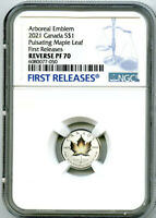 2021 $2 1/10 OZ CANADA SILVER PULSATING MAPLE LEAF NGC PF70 REV PROOF MINTAGE 3K