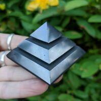 ONE (1) SHUNGITE Pyramid Sakkara w Grooves Crystal Reiki Charge *Read Below*