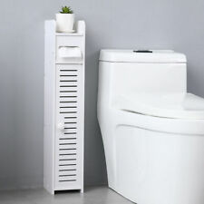 Small Bathroom Storage Corner Floor Cabinet with Doors and Shelves, Thin Toilet