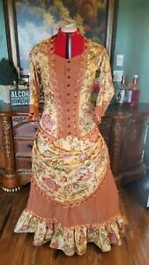 victorian bustle dress reenactment in gold and cinnamon with peach gimp trim