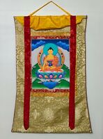 Hand-painted Shakyamuni, Gautama,  Buddha Tibetan Thangka Art in Silk Brocade