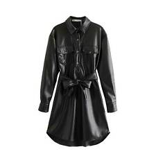 Women Faux Leather Shirt Dress Long Sleeve Button Down Cocktail Party Club Dress