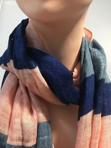 SPORTSCRAFT Mimi stripe long viscose scarf blue-pink in colour new with tag