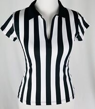 VINTAGE Teamwork Athletic Apparel Ladies Black and White Referee Top Size Small