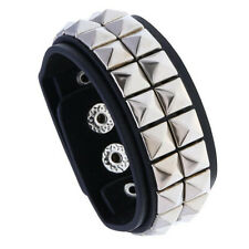 Punk Men Wide Rivet Black Leather Bracelet Wristband Bangle Cuff Wrap Adjustable