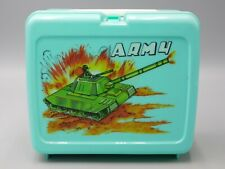 VINTAGE RARE ARMY LUNCHBOX & THERMOS UNUSED NOS  MILITARY TANK COMBAT SOLDIER