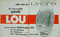 PUBLICITÉ DE PRESSE 1963 LA GAINETTE LOU ELLE EST EN LYCRA BLANC ET MARINE