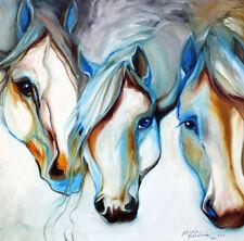 "Decor Art QUALITY CANVAS PRINT,3-wild-horses-in-abstract-marcia-baldwin,12""x12"""