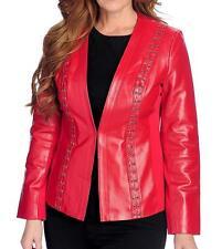 NEW - Pamela McCoy Genuine Leather & Knit Crisscross Lace & Grommet Jacket 1X