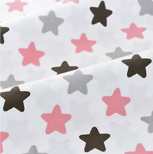 160cm*50cm pink gray star cotton fabric sewing baby quilting patchwork tecidos