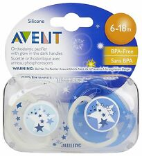 Philips Avent SCF176/22 2-Pack Orthodontic Soother 6-18m Night Time - Blue