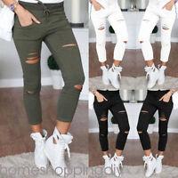 Women Denim Skinny Ripped Pants High Waist Stretch Jeans Slim Pencil Trousers SP