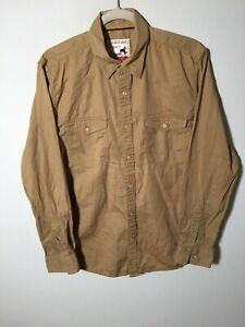 Wrangler mens camel button up shirt size L long sleeve cotton good condition