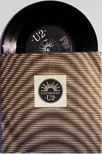 """U2 7"""" A Celebration / Trash UK 4 Prong BLACK Paper Label 1st Pressing"""