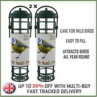 2x Wild Bird Fat Ball Hanging Feeder - Garden Easy Fill Suet Dry Seed Nut Peanut