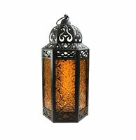 Decorative Candle Lantern with LED Fairy Lights for Patio Decor, Large, Amber