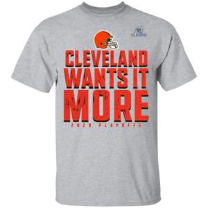 Men's Cleveland Browns Wants It More 2020 Playoffs T-Shirt Short Sleeve S-5XL