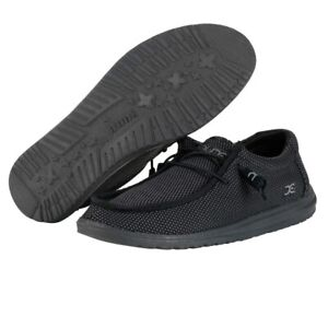 Hey Dude Wally L Sox Black Men's Shoes Lightweight Slip On Casual Shoes