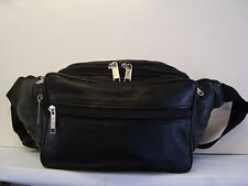 Soft Leather Bum Bag with Seven Zip Pockets Large Black