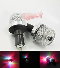 For Kawasaki Motorcycle HandleBar Hand Grips Bar End Marker Plug LED Light Lamps