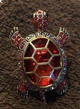 Bright Red Rhinestone & Gold Tone Turtle Fashion Stretch Ring Nwot
