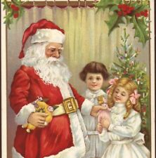 CLASSIC SANTA GIVES TOY DOLL TO HAPPY GIRL,FATHER CHRISTMAS.1913 OLD POSTCARD