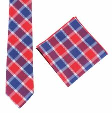 c97e08f33dc1 Knightsbridge Neckwear Mens Check Tie and Pocket Square set - Red/Blue