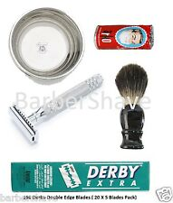 Men's Double Edge Shaving Safety Razor Set with 100 Derby Blades, Soap and Bowl