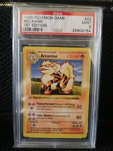 Pokemon Card 1999 PSA 9 1ST EDITION SHADOWLESS ARCANINE 23/102 Base Set MINT