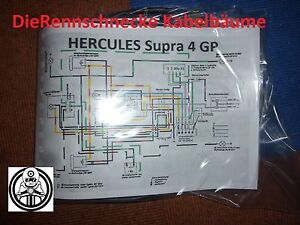 Hercules Supra 4 GP Kabelbaum Kabelsatz Nachbau incl. farbigem Schaltplan