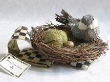 Mackenzie Childs SPARKLE BIRD NEST ORNAMENT W/COURTLY CHECK RIBBON 4' NEW $88